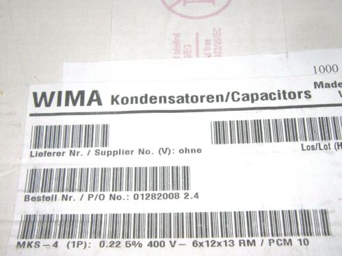 WIMA MKS4 0.22uF 400V 5/% pitch:10mm Polyester Capacitor 10pcs 0,22µF 220nF