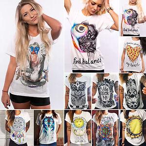 Womens-Punk-Grunge-Printed-T-shirts-Short-Sleeve-Casual-Tops-Blouse-Tee-UK-6-14