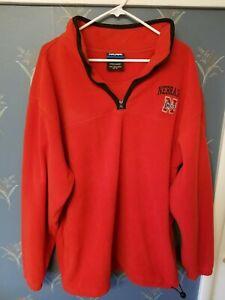Men-039-s-Nebraska-Cornhuskers-NCAA-Fleece-1-4-Zip-Jacket-Red-Size-XL-Extra-Large