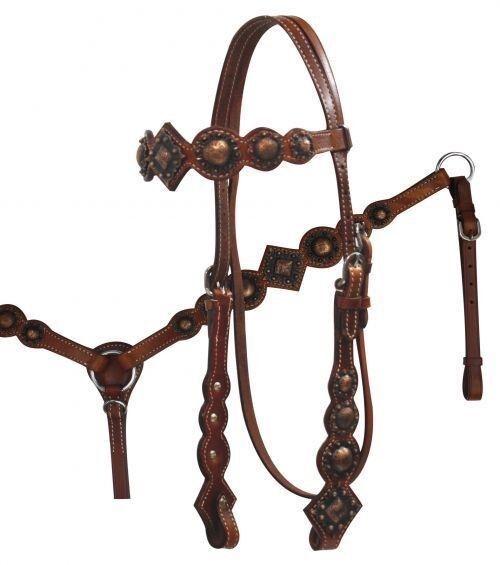 Showman Vintage Style Leather Bridle, Breast Collar & Rein Set w  Copper Conchos