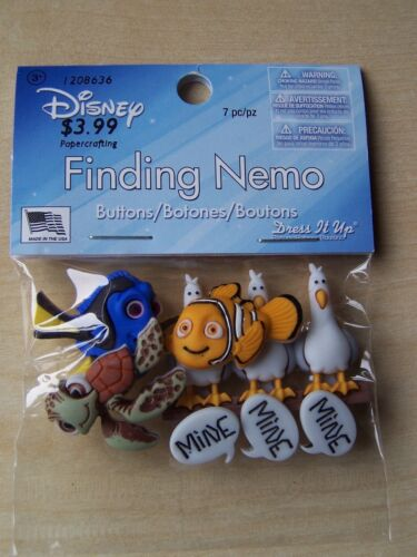 DRESS IT UP BUTTONS 7 PIECES CRAFTS DISNEY FINDING NEMO