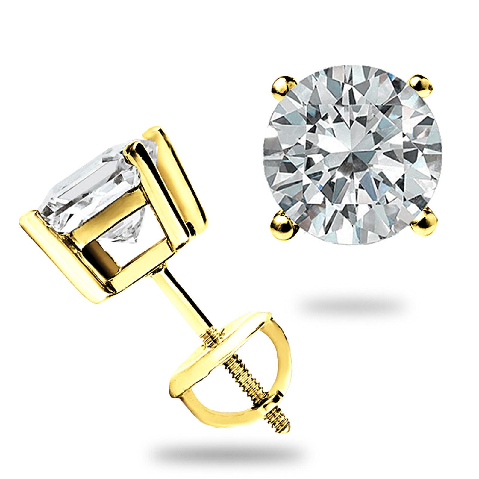 1.75 Ct Princess Cut Diamond Earrings in Solid 14k White Gold Screw Back Studs