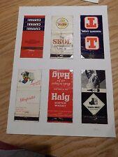 HAIG WHISKY  GLENFARCLAS  & OTHER DRINKS    1970s matchbook labels on A4 SHEET