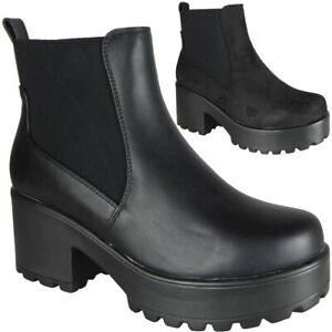 Womens-Ankle-Chunky-Ladies-Chelsea-Goth-Punk-High-Heel-Platform-Shoes-Boots-Size