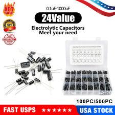 100500pc Radial Electrolytic Capacitor Assortment Kit 01uf 1000uf 10v 50v