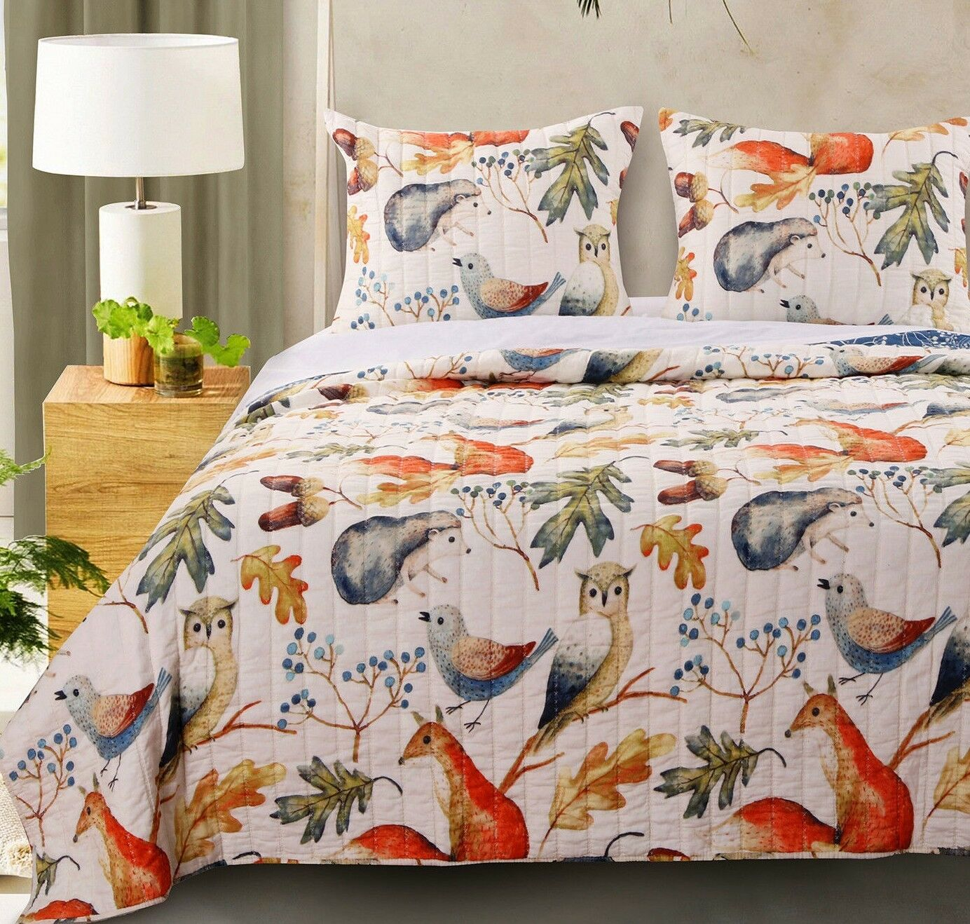 3pc WILLOW King Quilted Coverlet Set Forest Woodland Friends Nature Birds Leaves