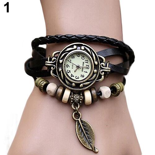 Women Vintage Faux Leather Bracelet Tree leaf Decoration Quartz Wrist Watch B81U