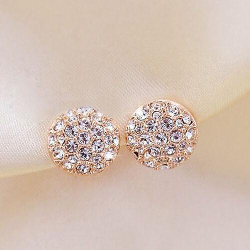 Pro Damen Frauen Elegant Kreis-Kristallrhinestone-Ohr-Bolzen-Ohrringe 1 paar