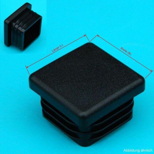 2 schwarze Lamellenstopfen 120x120 mm WS 2,5-5,0 mm  Vierkant Endkappen PE