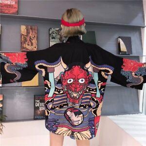 553d5e27a58 Womens Kimono Jacket Japanese Harajuku Hannya Printed Noragi ...