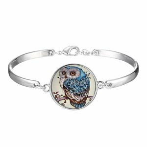 Lovely-Owl-Animal-Silver-Bangle-Bracelet-Wristband-Time-Gem-Women-Jewelry-Gift