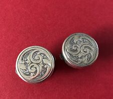 Antique Sterling Silver Victorian Bachelor Buttons Cuff-links George West 1880