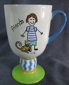Pfaltzgraff-Designer-Collection-Friends-Cat-Pedestal-Coffee-Mug-Cup-16oz