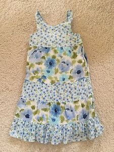 Gymboree-MALIBU-COWGIRL-cornflower-flower-floral-blue-sun-dress-6-EUC-po-sundres