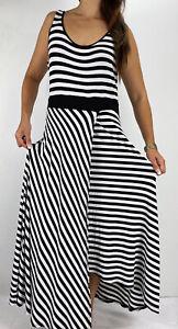 CITY CHIC Black White Striped Faux Wrap Sleeveless Maxi Dress Plus Size S AU 16