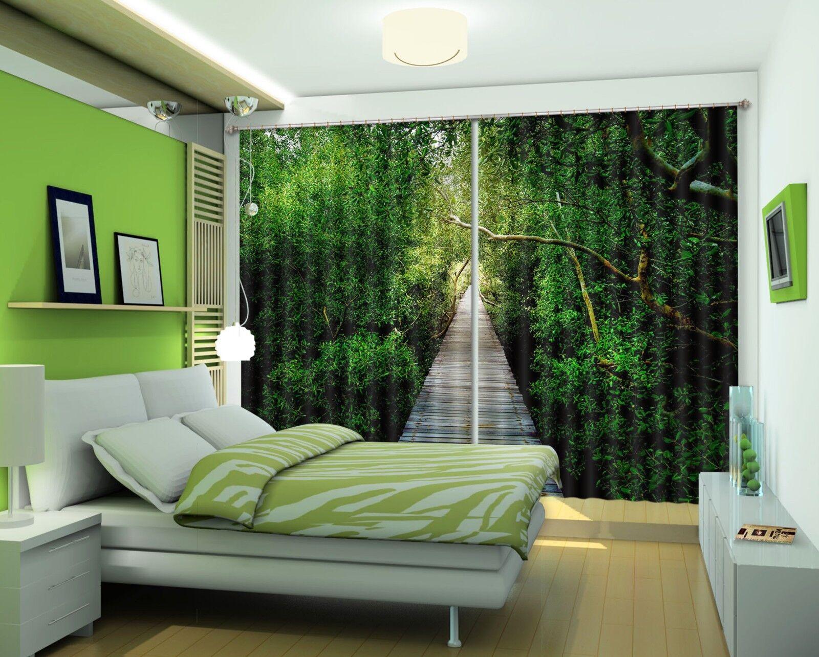 3D Forest 721 Cortinas de impresión de cortina de foto Blockout Tela Cortinas Ventana CA