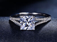 Enhanced Bridal Engagement Wedding 14k White Gold Princess Cut Diamond Ring 1 Ct