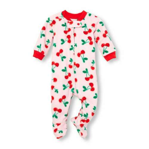 NWT The Childrens Place Strawberry Cherry Girls Footed Fleece Sleeper Pajamas