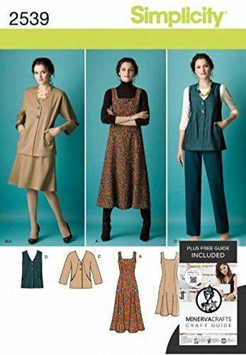 Simplicity Sewing Pattern 2539 Misses Dress Jacket Pants Size BB 20W-28W
