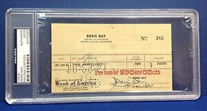 Doris Day signed Cancelled Check Slabbed PSA/DNA # 83770495