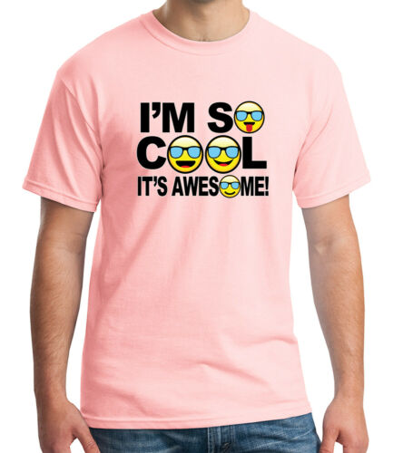 1697C I am so Cool Adult/'s T-shirt Awesome Summer Emoji Tee for Men