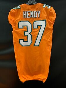 #37 AJ HENDY MIAMI DOLPHINS GAME USED TEAM ISSUED ORANGE COLOR RUSH JERSEY
