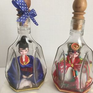 Vintage-Chinese-Woman-Girls-Dolls-In-Glass-Bottles-8-034-Tall-Adorable