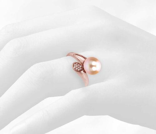 Perle Anneau Argent Sterling or rose .10tcw CZ /& 9-9.5mm Rose D/'eau Douce Pearl