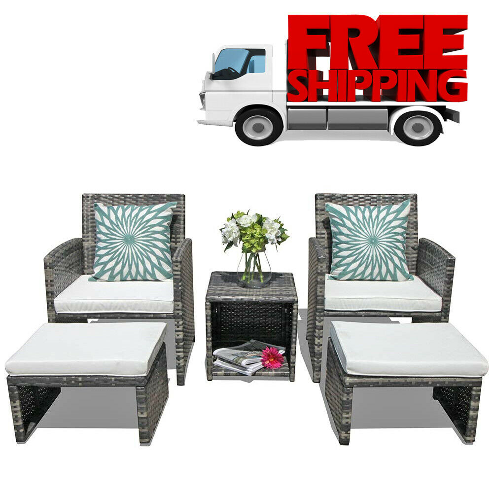 Pleasing Details About Patio Furniture Sets Clearance Outdoor Garden Rattan Wicker Chair With Ottoman Ibusinesslaw Wood Chair Design Ideas Ibusinesslaworg