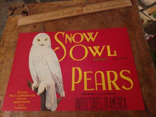 SNOW OWL red c1920s Pear Crate Label Perham Fruit Yakima Washington early litho