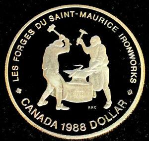 1988-Canadian-1-00-Silver-Proof-Dollar-034-Saint-Maurice-Ironworks-034
