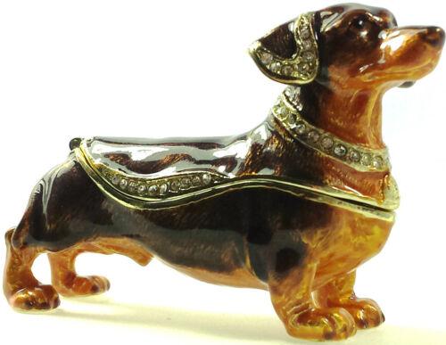 Dackel Hund Geschenk Deko Box Figur Sammlerstück Schmuck Schatulle Pillendose