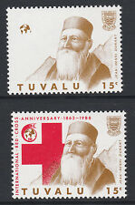 Tuvalu (S44) 1988 Red Cross 15c RED OMITTED & normal unmounted mint SG 518var