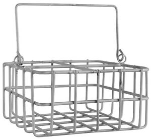 Flaschenkorb-Glaeserkorb-Zink-grau-Henkelkorb-Metall-m-4-Faechern-IB-Laursen