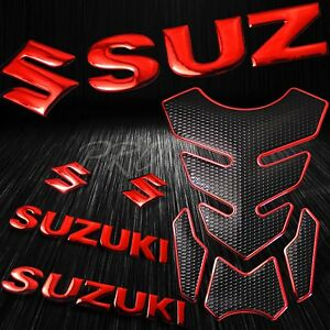 "4PCs Chrome Gold Fuel Tank Pad+8/"" 3D Suzuki Logo+Letter Fairing Emblem Stickers"