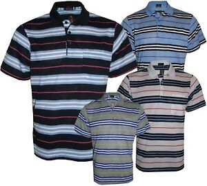 Men-s-Striped-T-Shirts-Loose-Fit-Pique-Polo-Polycotton-1904-Casual-Tops-M-to-5XL