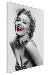 Image Is Loading BLACK WHITE MARILYN MONROE RED LIPS CANVAS WALL
