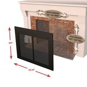 Fireplace-Glass-Doors-Large-Bi-Fold-Surface-Mount-Design-Easy-Grip-Handles-NEW