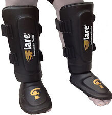 Flare Shin Instep Foot Pads MMA Leg Kick Guards Muay Thai Boxing Training