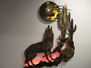 Coyote Howling at the Moon/Arizona Sunset Piece by HGMW | eBay  Coyote Howling ...