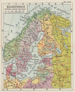 Cartina Norvegia Da Stampare.C2584 Scandinavia Svezia Norvegia Carta Geografica D Epoca 1933 Old Map Ebay
