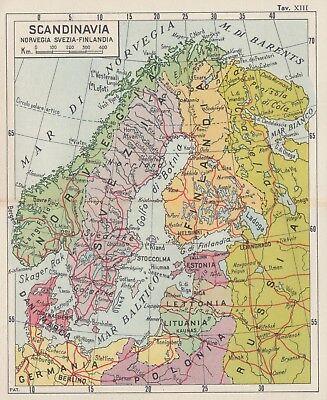 Norvegia Cartina Stradale.C2584 Scandinavia Svezia Norvegia Carta Geografica D Epoca 1933 Old Map Ebay