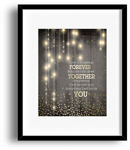 Details about Song Lyric Quote Print Poster - I Will Love You Always  Forever by Donna Lewis