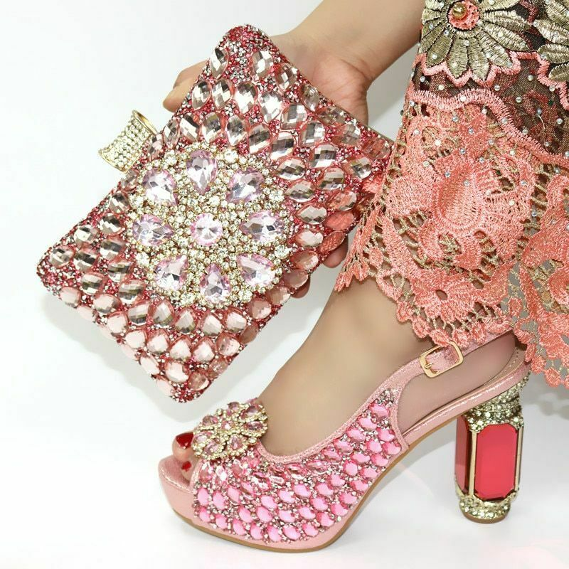 Evening Party schuhe And Bags Set Crystal Elegant Designed Pumps Clutch Accessory