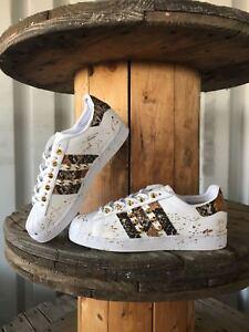 Dettagli su scarpe adidas superstar con spruzzatura e borchie oro
