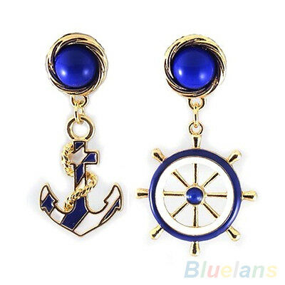 Elegant Women Trendy Navy Anchor Helm Style Alloy Long Dangle Drop Earrings E1