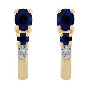 9ct-0-52ct-Oro-Amarillo-Natural-Azul-Zafiro-y-Diamante-Pendientes-De-Aro