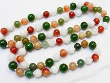 CHINESE VINTAGE MULTICOLOR  JADE 9mm BEAD NECKLACE, 101 GRAMS