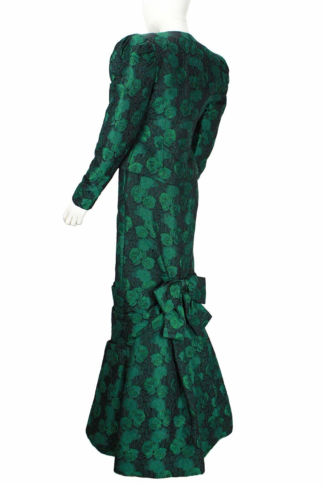 ARNOLD SCAASI 1980s Dark Green Floral Brocade Gow… - image 5