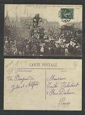 1908 CARNAVAL DE NICE FRANCE LA PLACE MASSENA ET CHAR CA TIRE ET CA VIENT P-CARD